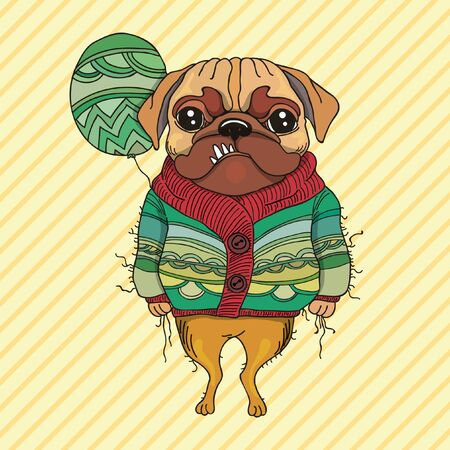 pug dog: Abstract pug dog standing with the green balloon in its hand