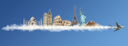 pise: Travel the world monuments concept