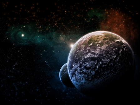 Planet earth lanscape in space photo