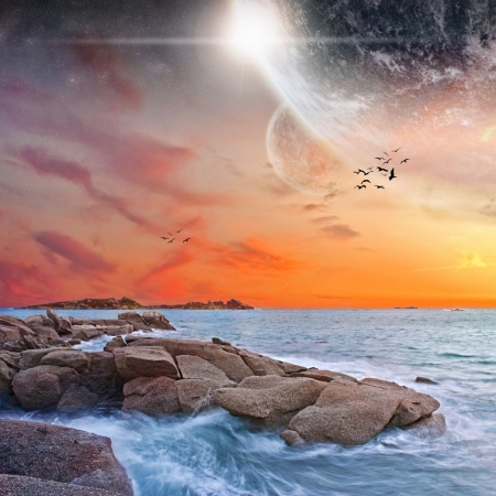 Planet landscape view from a beautiful beach photo