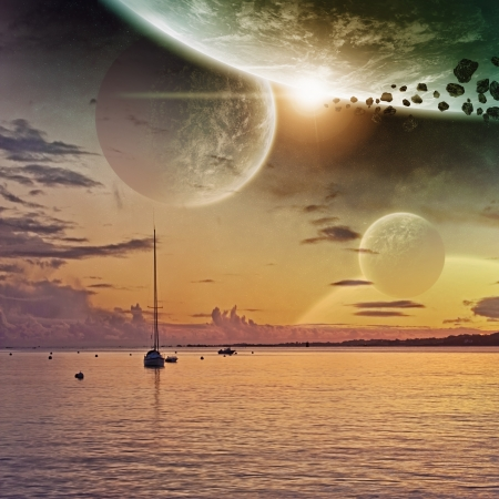 science fiction: Planet landscape view from a beautiful beach