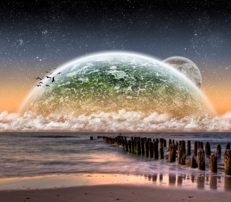 fantasy alien: Planet landscape view from a beautiful beach