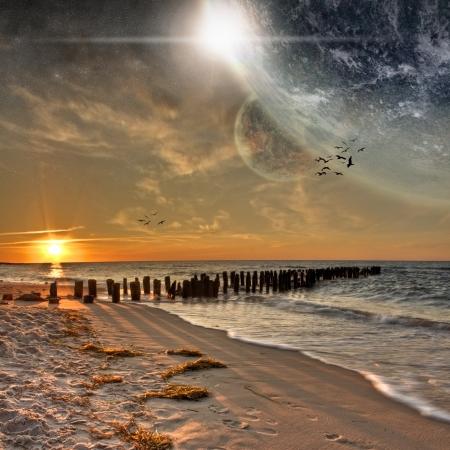 아름다운 해변에서 행성 풍경보기 스톡 콘텐츠
