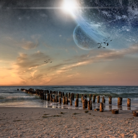 Planet landscape view from a beautiful beach
