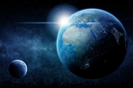 iluminados: Planeta Tierra media noche Foto de archivo