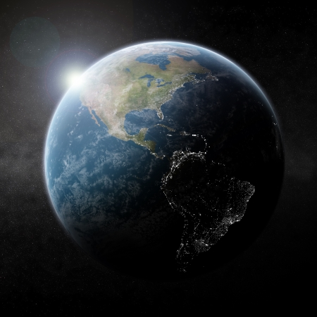 Planet Earth half night photo