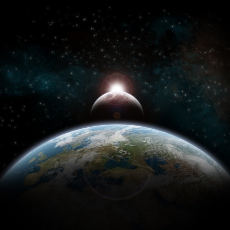 cataclysm: Eclipse of the sun over the planet Earth Stock Photo