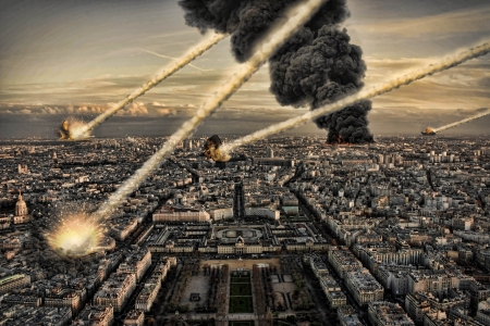 end of the world: Day of the apocalypse over Paris France Eiffel Tower Stock Photo