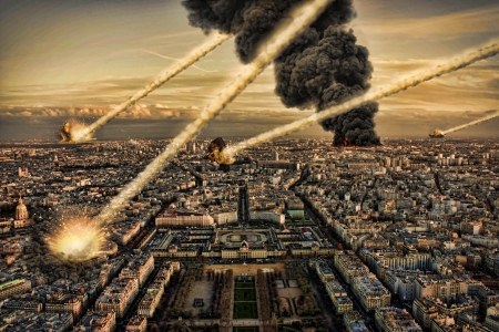 meteor: Day of the apocalypse over Paris France Eiffel Tower Stock Photo