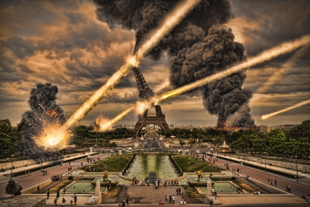 the end of the world: Day of the apocalypse over Paris France Eiffel Tower Stock Photo