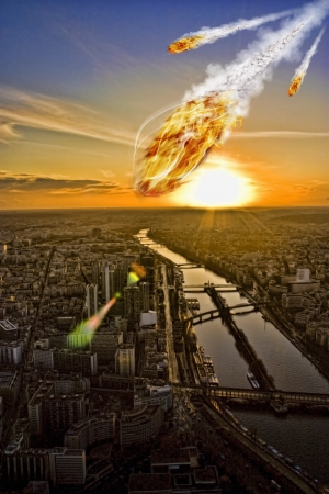 end of world: Day of the apocalypse over Paris France Eiffel Tower Stock Photo