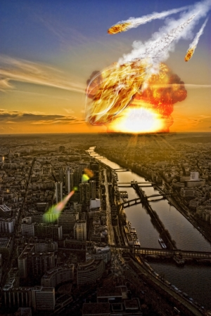 war on terror: Day of the apocalypse over Paris France Eiffel Tower Stock Photo
