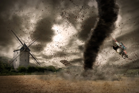 natural disaster: Tornado hurricane destroying a barn