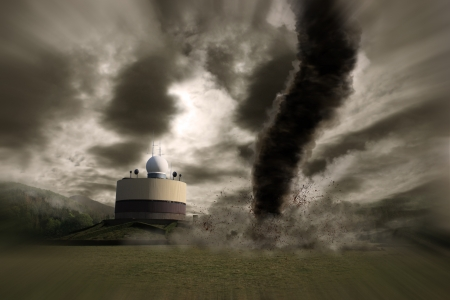 end of the world: Tornado hurricane destroying a meteo station Stock Photo