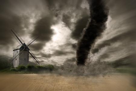 meteo: Tornado hurricane destroying a barn