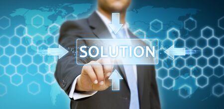 Businessman touching digital screen Stock Photo