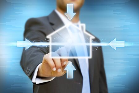 Businessman creating his company concept Stock Photo