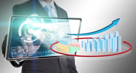 Businessman using a digital chart during a meeting