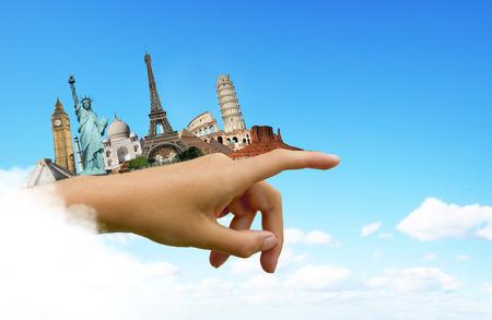 세계 여행 개념의 유명한 기념물