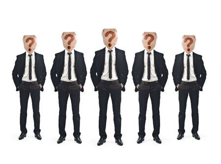 Group of five businessman on white background photo