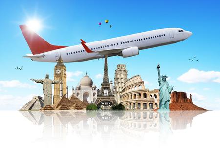 旅行: 旅行や休暇を示す世界の有名なモニュメント