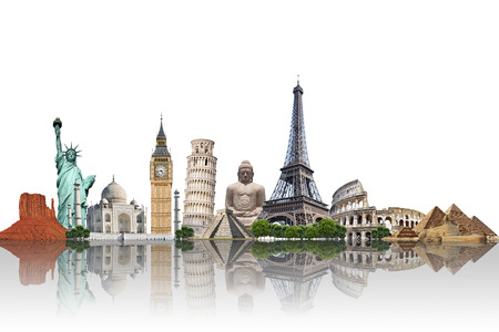 Famous monuments of the world illustrating the travel and holidays Stock Photo