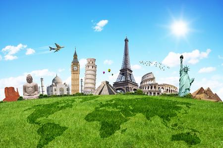 mapa mundi: Monumentos famosos del mundo que ilustran los viajes y las vacaciones