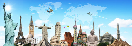 Famous monuments of the world illustrating the travel and holidays