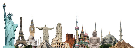 Famous monuments of the world illustrating the travel and holidays Editorial