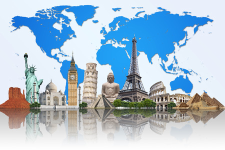 new world: Famous monuments of the world illustrating the travel and holidays Stock Photo