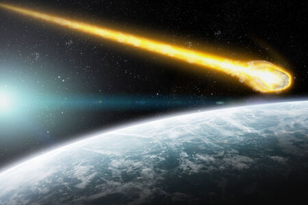 Asteroids flying close to the planet Earth photo