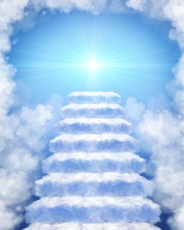 Illustratie van een trap gemaakt van wolken aan de hemel