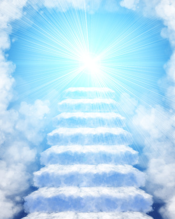 Illustration of a stairway made of clouds to heaven