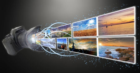 megapixel: Pictures going out of a camera lens illustration Stock Photo
