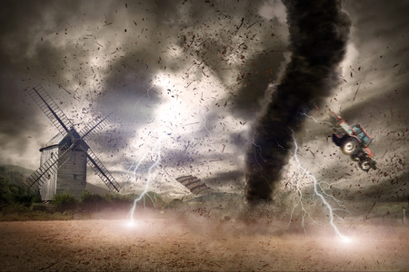 Picture of a large tornado destroying the landscape Stock Photo