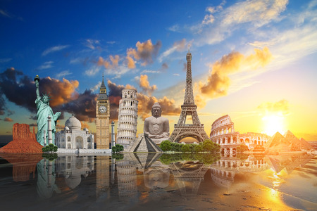 Famous monuments of the world illustrating the travel and holidays Stock Photo - 33471831
