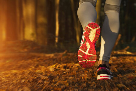 Fitness Girl running at sunset in forest photo