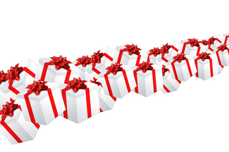 xmas background: Multiple gifts on white background Xmas illustration Stock Photo