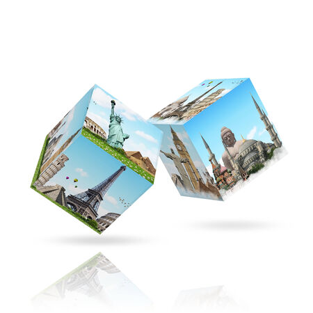 travel location: Dices game with differents travel location on each faces