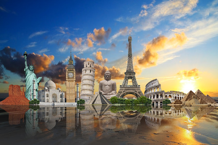 statues: Famous monuments of the world illustrating the travel and holidays Stock Photo
