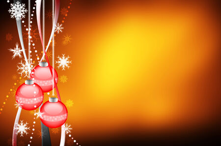 ornamente: Beautiful colorful xmas background with ornamente and snow