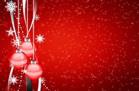 Beautiful colorful xmas background with ornamente and snow
