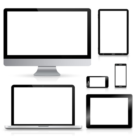 Modern digital tech devices on white background Stock Photo