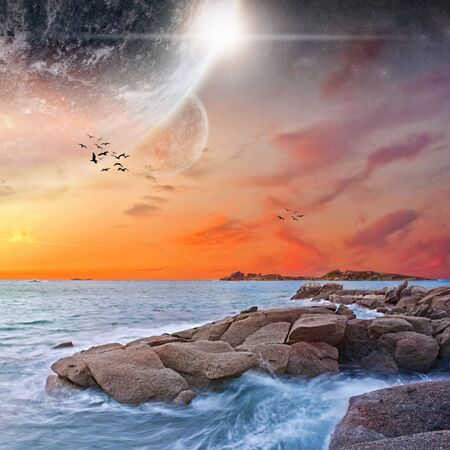 end of the world: Beautiful beach planet landscape view from another world