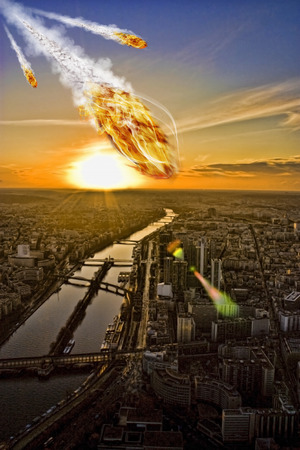 end of world: Meteorite shower over a cityrepresenting the Apocalypse