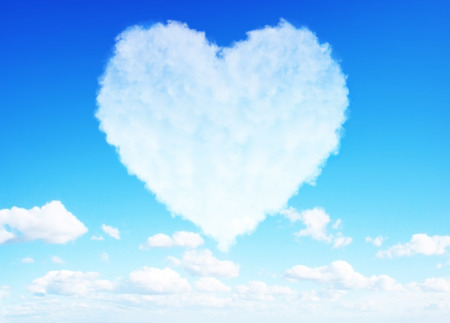 Beautiful Heart clouds representing love for valentines day photo