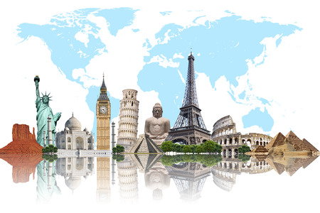 Famous monuments of the world illustrating the travel and holidays photo