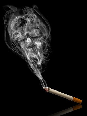 illustrating: Smoke in shape of skull illustrating smoke kills