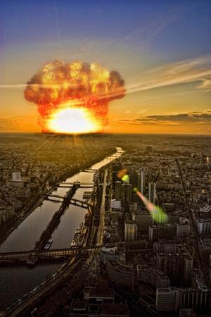 Meteorite shower over a cityrepresenting the Apocalypse photo
