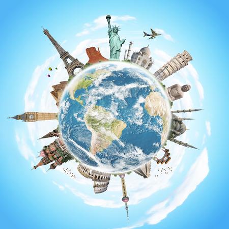 země: Slavné památky světa ilustrující cestování a dovolená